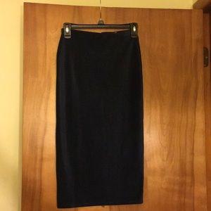Velvet zipper pencil skirt